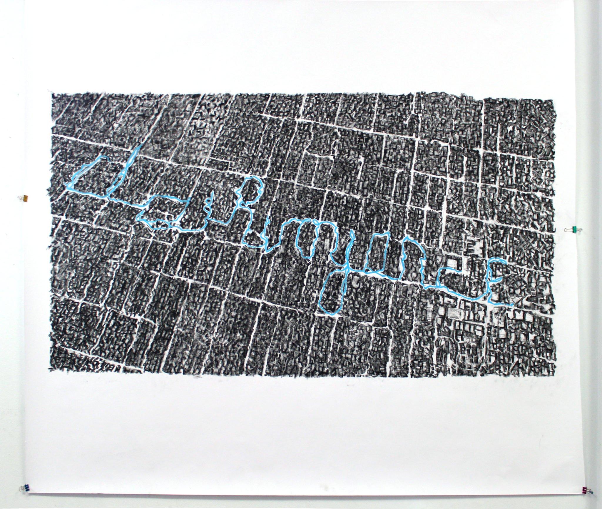 "Clairvoyance (first walk)  |  pastel on paper  |  60"" x 66""  |  2011"